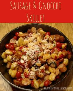 Easy Chicken Sausage and Potato Gnocchi Skillet Meal.