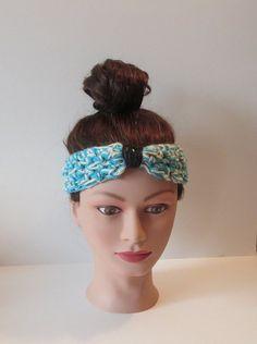 Blue Crochet Knotted Headband Turban Headband Bow by TiStephani, $16.00