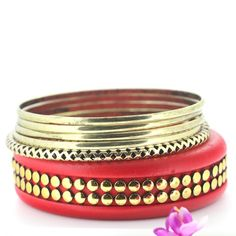 Retro Metallic Color Multilayer Red Bracelets for Women