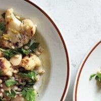 Roasted Cauliflower with Lemon-Parsley Dressing - Bon Appétit.  Try Dressing on the Poached/Roasted Cauliflower also
