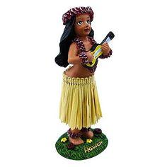 Dancing ukulele hula girl, wiggles on your dashboard!