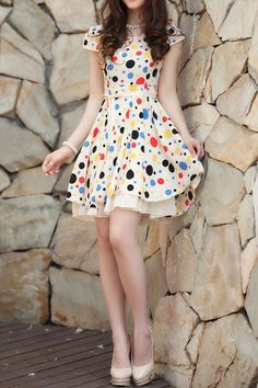 Sweet Polka Dot Bound Waist Dress | 86.00