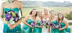 Purple and Teal. Love it!  Photography by JoPhoto   Flowers by Sassafras bridesmaids