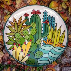 Trang trí Drawing Tips how to draw people Painted Plates, Ceramic Plates, Ceramic Pottery, Cactus Drawing, Cactus Art, Pottery Painting Designs, Paint Designs, Ceramic Painting, Ceramic Art