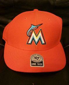 MLB MIAMI MARLINS HAT CAP 47 BRAND Adjustable  ONFIELD ORANGE ONE SIZE VELCRO #47Brand #MiamiMarlins