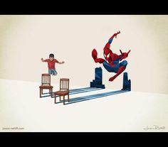 O poder da imaginação de uma criança em ilustrações