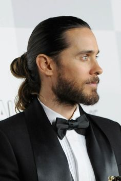 Jared Leto - The tao of the man-bun guru - slicked back, single loop