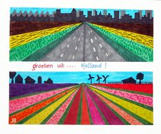 And this is Holland too . You need: white drawing sheet from 20 by 10 cm markers fineliner ruler pencil Draw a horizon line about 2 cm f. Art Lessons For Kids, Artists For Kids, Art Lessons Elementary, Art For Kids, 5 Kids, 6th Grade Art, Perspective Art, Ecole Art, School Art Projects
