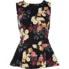River Island Black floral print sleeveless peplum top (170 MXN) ❤ liked on Polyvore featuring tops, blouses, shirts, blusas, sleeveless shirts, cotton shirts, floral print shirt, sleeveless cotton blouse and floral pattern shirt
