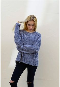 CHENILLE KNITTED JUMPER SWEATER (GREY)