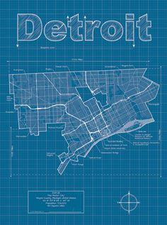 Detroit Map / Original Artwork / Detroit Blueprint / Wall Art