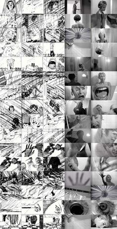 Saul Bass' story board, for the 'shower sequence' in Hitchcock's film, Psycho, 1960 Video Storyboard, Storyboard Examples, Storyboard Drawing, Animation Storyboard, Storyboard Artist, Saul Bass, Hitchcock Film, Alfred Hitchcock, Psycho Shower Scene