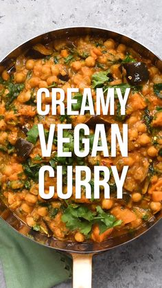 Feb 2020 - This creamy Vegan Curry is packed with flavour, vegetables and chickpeas! A hearty and healthy meat-free dish meal quick and easy to make plus gluten-free and Slimming World friendly too. Make it on the stove or the Instant Pot Healthy Meats, Healthy Recipes, Paleo Food, Paleo Diet, Instapot Vegan Recipes, Vegetarian One Pot Meals, Veggie Recipes Easy, Vegan Lentil Recipes, Vegan Recipes Easy Healthy