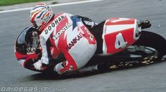 1994 Mick Doohan GP500. So much different on the bike than todays racers. He 'pushed' the bike away underneath