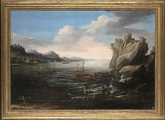 Circle of Agostino Tassi (Ponzano Romano 1580-1644 Rome)   A coastal landscape with fishermen on the shore, a Genoese galley and other vessels and a hilltop fortress beyond