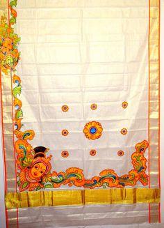 Design your dreams. Saree Painting, Kerala Mural Painting, Dress Painting, Buddha Painting, Fabric Painting, Painting Canvas, Hand Painted Sarees, Fabric Paint Designs, Fairy Art