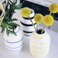 The three vases can stand together in a charming, small design tableau or be used on their own. Use the timeless and sophisticated miniature vases to decorate small shelves with garden and forest crocuses and snowdrops.
