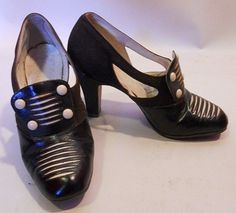1930's Deco Black and White leather Heels - @~ Mlle