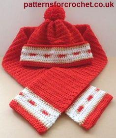 Bobble hat & scarf set free crochet pattern from http://www.patternsforcrochet.co.uk/adult-bobble-hat-scarf-usa.html #freecrochetpatterns #patternsforcrochet
