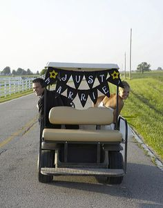 Decorate a golf cart for the couple to ride around in at a golf course wedding #wedding #golf