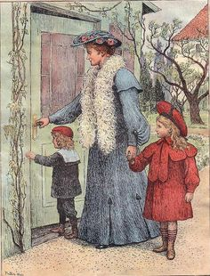 A lady with two children returning home or visiting someone