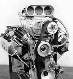 """Keith Black cylinder blocked fuel motor, 1975. The beginning of the evolution from genuine 426 Chrysler Hemi to """"Chrysler based"""" Hemi engines used in virtually all nitro and alcohol dragsters and funny cars since the early seventies. The then 'late model' replaced Chrysler's own 'early Hemi' design as the previously dominant engine for the these classes."""