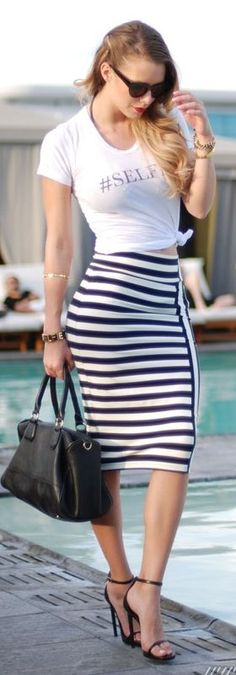 striped skirt, grey top, chambray shiet over top. | Fashion Ideas ...