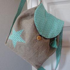 Petit sac à dos enfant en lin et coton vert menthe