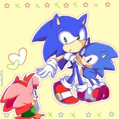 Classic Sonic wants Modern Sonic to protect him from Classic Amy. Too hilarious!