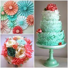 coral and aqua bouquet - Google Search