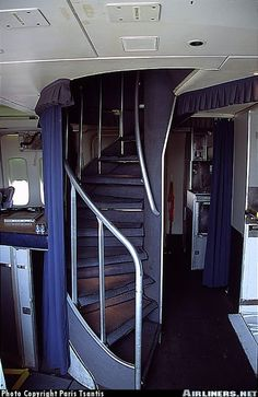 Staircase of legendary Olympic 747 to class floor. 747 Jumbo Jet, Olympic Airlines, Airplane Interior, Aircraft Interiors, Boeing 707, Passenger Aircraft, Commercial Aircraft, Civil Aviation, Aircraft Design