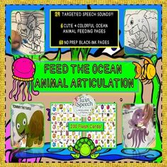 Feed The Ocean Animal Articulation: 60 NO PREP... by Twin Speech Language and Literacy LLC  | Teachers Pay Teachers