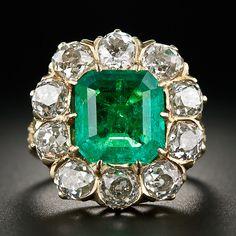 Vintage 3.85 Carat Emerald and Diamond Ring