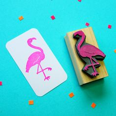 Fancy Flamingo Rubber Stamp  Bird Rubber by skullandcrossbuns