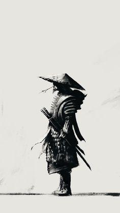 It is better to be Warrior sitting in the garden; then a gardener at war. black and white sketch samurai ninja Fantasy Samurai, Samurai Wallpaper, Ninja Wallpaper, Wallpaper Maker, Wallpaper Desktop, Black Wallpaper, Nature Wallpaper, Ronin Samurai, Samurai Anime
