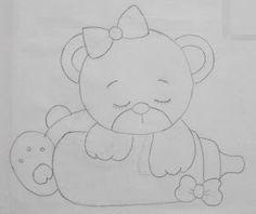 Cantinho arts da Mari Felt Animal Patterns, Stuffed Animal Patterns, Applique Templates, Applique Patterns, Baby Painting, Fabric Painting, Princess Crafts, Bear Felt, Nursery Patterns