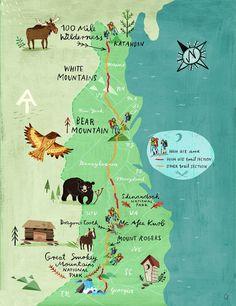 Appalachian Trail Map Print Artwork by ChEngel on Etsy