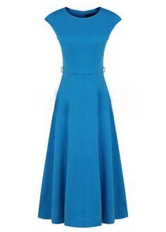 Elegant Round Neck High Waist A Line Dress Blue