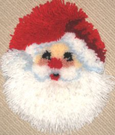 Santa Face latch hook wall hanging kit. Comes with easy to follow full color chart, 3.75 mesh canvas, pre-cut acrylic rug yarn