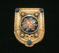 French Gold Filigree Compact Enamel White Pearls Blue Stones Antique Powder Box 1800's RARE