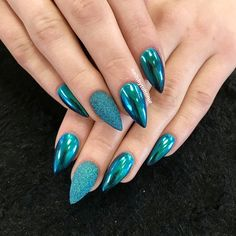Teal blue chrome nails