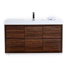 Bliss 60″ Walnut Single Sink Floor Mount Modern Bathroom Vanity