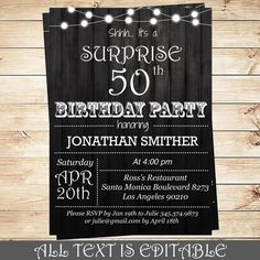 Items Similar To Birthday Party Invitation Template Surprise Editable PDF With Adobe Reader DIY On