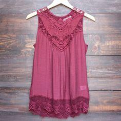 gypsy crochet lace gauzy sleeveless tank top in burgundy