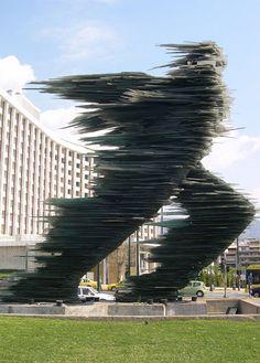 Kostas Varotsos, The Glass Runner (sculpture) in Athens, Greece.