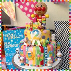 Birthday cake food drink pinterest for Anpanman cake decoration