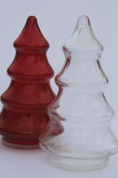 vintage glass candy jars, Christmas tree shape red & clear glass canisters