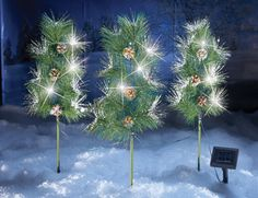 Solar Snow Tipped Pinecone Garden Stakes- Set of 3