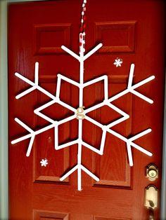 popsicle stick snowflake for door