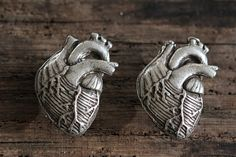 Anatomical Heart Cabinet Hardware Antique Silver by billyblue22, $18.50